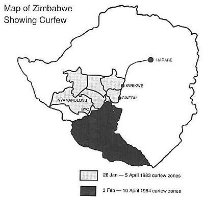 Zimbabwe imposed curfew zones