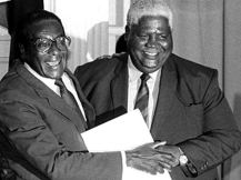The Unity Accord was signed between Zanu PF and PF Zapu in 1987. Here the late Vice-President Joshua Nkomo and President Robert Mugabe are seen hugging at the signing ceremony