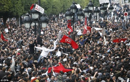 Demonstrators gather in front of the Interior Ministry during a protest against Tunisian President Zine El-Abidine Ben Ali